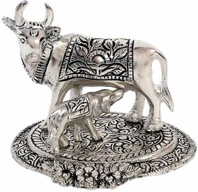 Oxidized White Silver Metal Religious Cow and Calf Handmade Handicraft For Home Decor Gift Item (  13.2 x 10.7 x 9.2 cm , Silver )  By Fashion  Bizz