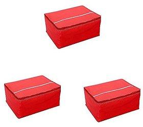 Fashion Bizz Saree Cover Set of 3 Pcs In Non Woven Material (Red)