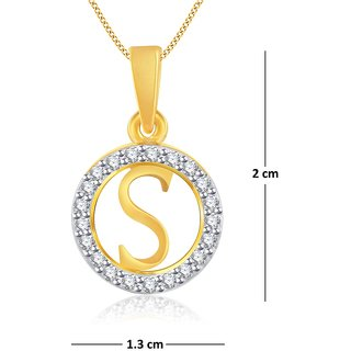 buy vidhi jewels gold plated stylish s alphabet alloy brass pendant