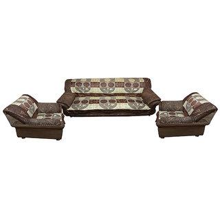 Vivek  Homesaaz  Multi Embossed 5 Seater Net Sofa Cover Set -10 Pieces