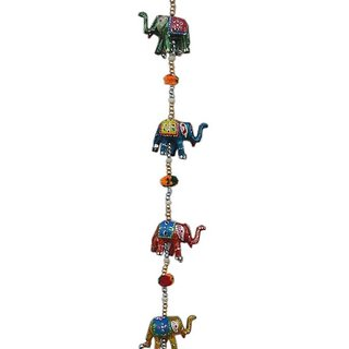 Handicraft  Rajasthani Elephant Wall / Door Hanging Home Decor Screen Toran Length 36 Inch