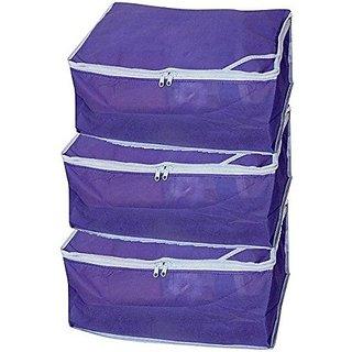 Fashion Bizz Non Woven Saree Cover Sat of 3 Pcs/Wardrobe Organiser/Regular Clothes Bag