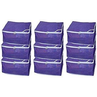 Fashion Bizz Non Woven Saree Cover Set Of 9 Pcs /Wardrobe Organiser /Regular Clothes Bag