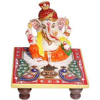 Marble Pagadi Ganesh with Pooja Chowki ( Chowki 4 Inch X 4 Inch Ganesh Ji 3 Inch , No of Pieces 2  )  By Fashion Bizz