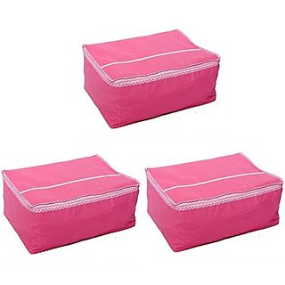 Fashion Bizz Pink Non Woven Saree Cover Set of 3 Pcs