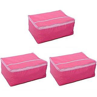 Fashion Bizz Pink Non Woven Saree Cover Set of 3 Pcs