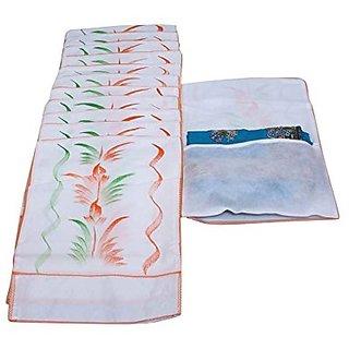 Fashion Bizz White Transparent  Kota Doria Hanging Saree Cover Set Of 12