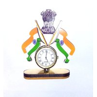 Indian Flag with Clock For Car Dashboard Idol 1 pc