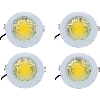 Bene Gleam Virgin Plastic Round Ceiling Light, (Yellow 7w, Pack of 4 Pcs)