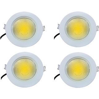 Bene Gleam Virgin Plastic Round Ceiling Light, (Yellow 7w, Pack of 4 Pcs)