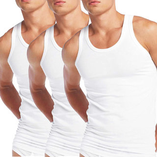 Zotic Men's White Cotton Vest - Pack Of 3