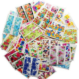10pcs Mix Multicolor colorful FLOWER FULL NAIL Transfer Decals stickers Art