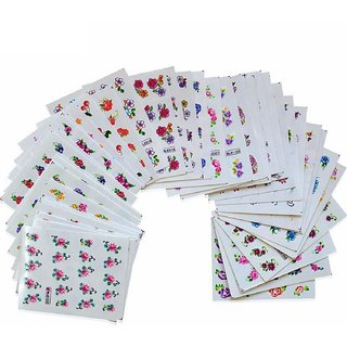 10pcs Mix Multicolor colorful FLOWER Heart NAIL Transfer Decals stickers Art