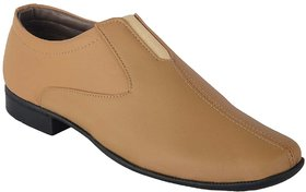 Austrich Men's Khaki Slip On Shoes With Elastic