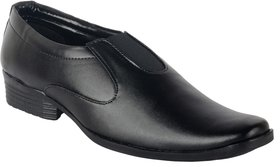 Austrich Men's Black Slip On Shoes With Elastic