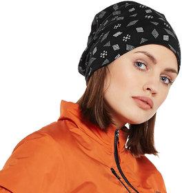 Vimal-Jonney Black Printed Cotton Beanie Cap For Women