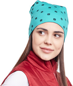 Vimal-Jonney Turqouise Floral Printed Cotton Beanie Cap For Women