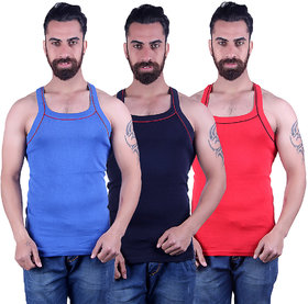 Odoky Navy,Red Royal Blue Men's Vest Pack Of 3 NR