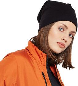Vimal-Jonney Black Cotton Beanie Cap For Women