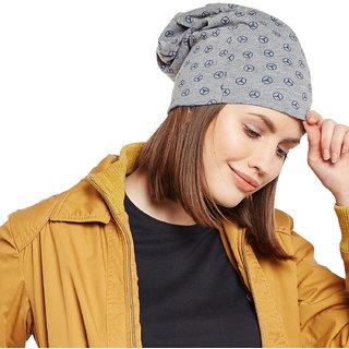 Buy Vimal-Jonney Grey Melange Printed Cotton Beanie Cap For Women ... 6b9a1070f943