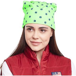 Vimal-Jonney Green Floral Printed Cotton Beanie Cap For Women