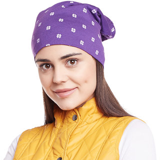 Vimal-Jonney Purple Floral Printed Cotton Beanie Cap For Women