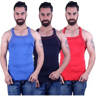 Odoky Navy,Red Royal Blue Men's Vest Pack Of 3 NR