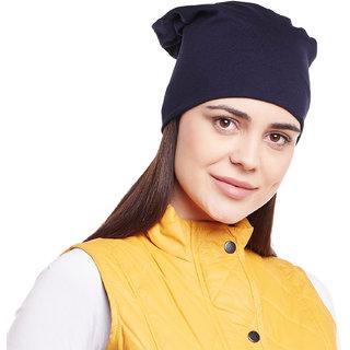 Buy Vimal-Jonney Navy Blue Cotton Beanie Cap For Women Online - Get 0% Off 47e37a616934