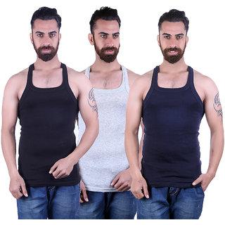 Odoky Grey,Navy & Black Men's Vest Pack Of 3