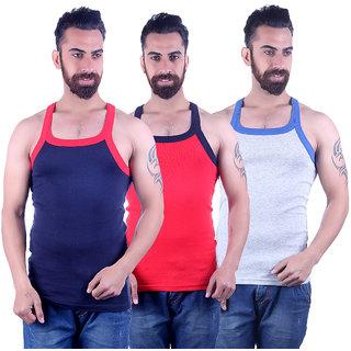 Odoky Grey,Navy Red Men's Vest Pack Of 3 NR