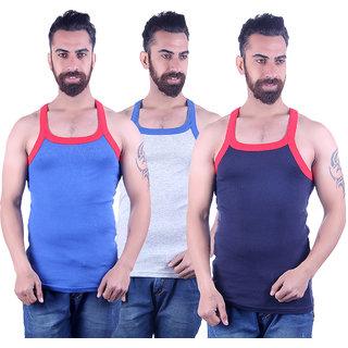 Odoky Grey,Navy Royal Blue Men's Vest Pack Of 3 NR