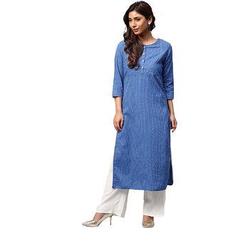 Jaipur Kurti Women Blue Solid Straight Cotton Kantha Kurta