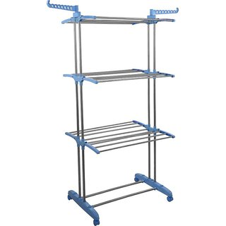 INDISWAN STAINLESS STEEL DOUBLE POLE HEAVY WEIGHT CARRYING CLOTH DRYING STAND (MADE IN INDIA)
