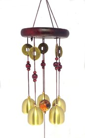 Discount4product Feng Shui Metal  Wooden Wind Chime Pipes Hanging For Positive Energy-Mt536squere