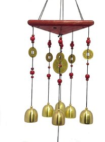 Discount4product Feng Shui Metal  Wooden Wind Chime Pipes Hanging For Positive Energy Mt565a