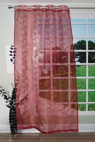 Lushomes Stylish Red with Flower Design Sheer Curtain for Door, Size: 45