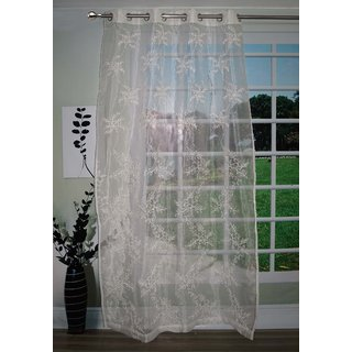 Lushomes Stylish White with Leaf Design Sheer Curtain for Door, Size: 45