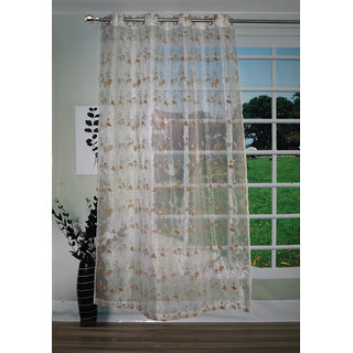 Lushomes Stylish White with Human Figures Sheer Curtain for Door, Size: 45
