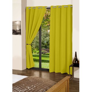 Lushomes Palm Plain Cotton Curtains With 8 Eyelets & Plain Tiebacks for Door