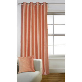 Lushomes Peach Art Silk Door Curtain with Polyester Lining