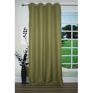 Lushomes Green Water Repellent Frankfurt Matty Curtain with 8 metal eyelets & tie back (Single pc pack)