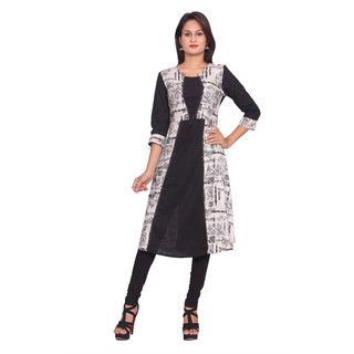 Women Rayon Printed Black 3/4th Sleeves Stylish Designer Kurti