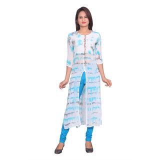 Women Viscose Tie-Dye Turquoise 3/4th Sleeves Stylish Designer Kurti