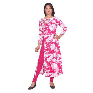 Women Rayon Embroidered Pink 3/4th Sleeves Stylish Designer Kurti