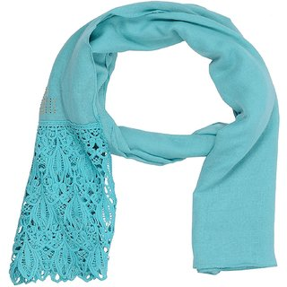 Stole for Women -  Designer Cotton Plain Women's Stole - Blue