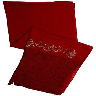 Stole for Women -  Designer Cotton Plain Women's Stole - Red