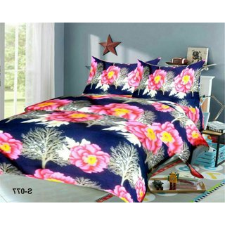 Weave Well 3D Double Bedsheet with 2 Pillow Covers AHF-APT3D19