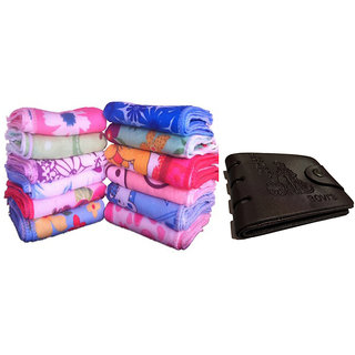 12 Face towel Flower design + (wallet FREE) combo pack
