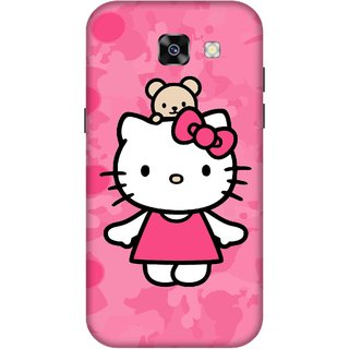 Print Opera Hard Plastic Designer Printed Phone Cover for  Samsung Galaxy A7 (2017) Cute Cat with pink background