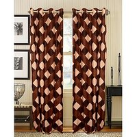 Premium Brown Box Curtain ( Set Of 2 ) - 9Ft